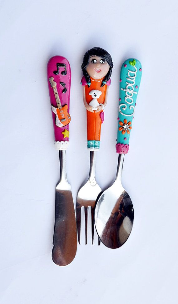 Personalized Serving Cutlery Set Girl with Dog by RadArtaDesign