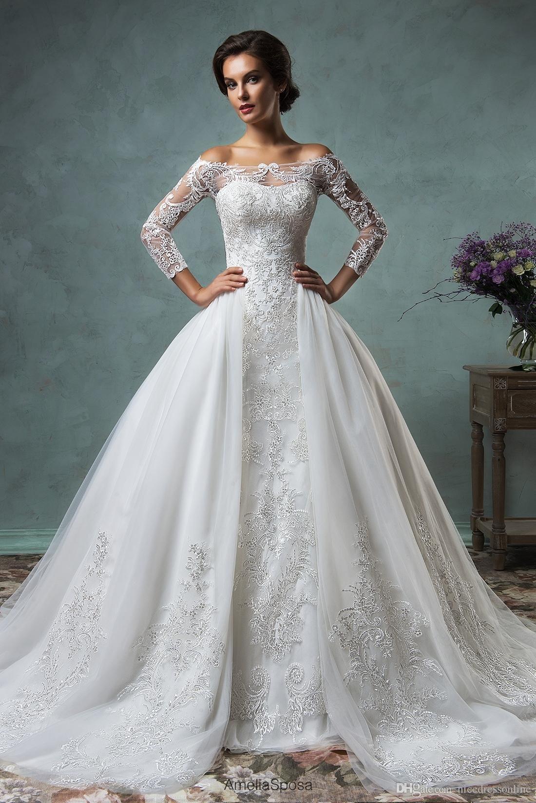 Amelia Sposa 2016 Sexy Muslim Brautkleider mit abnehmbarem Rock weg ...