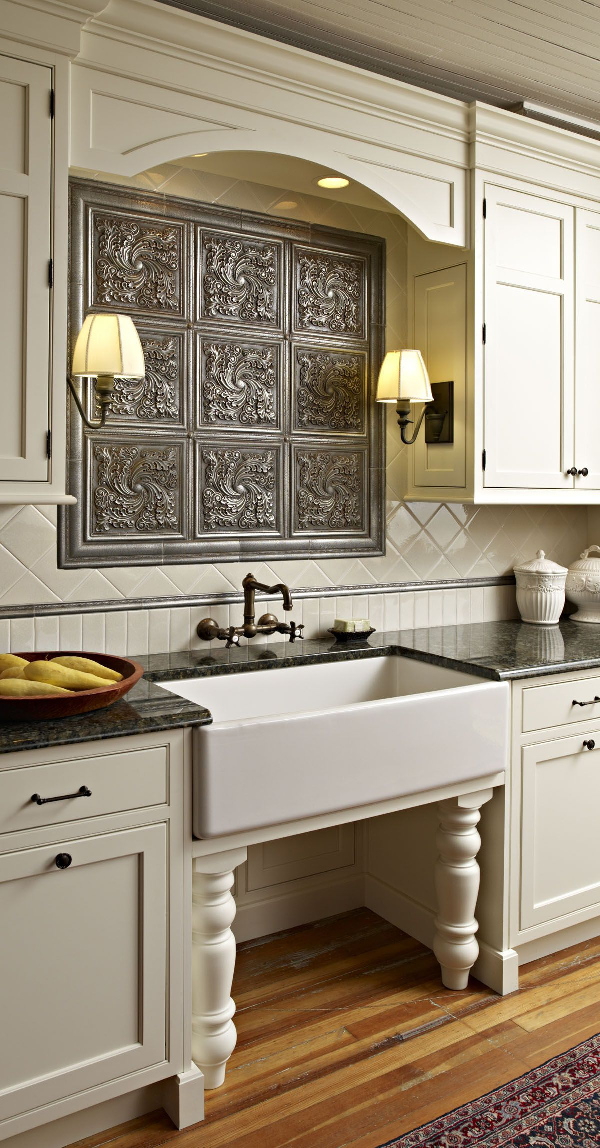 Vintage Style Kitchen With A Cool Backsplash Farmhouse Sink