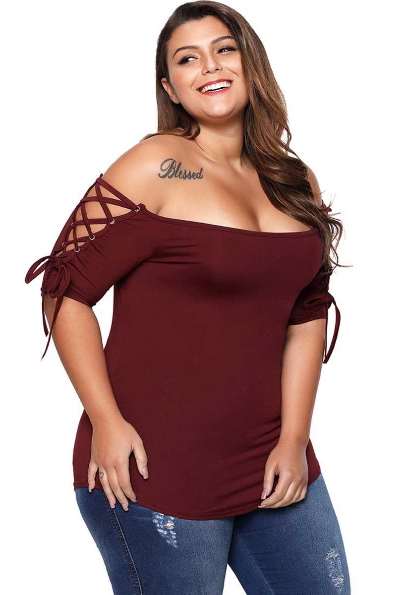 dfe64f3d0ce9d4 Women s  red short sleeve crisscross strap casual  PlusSize  T-shirt