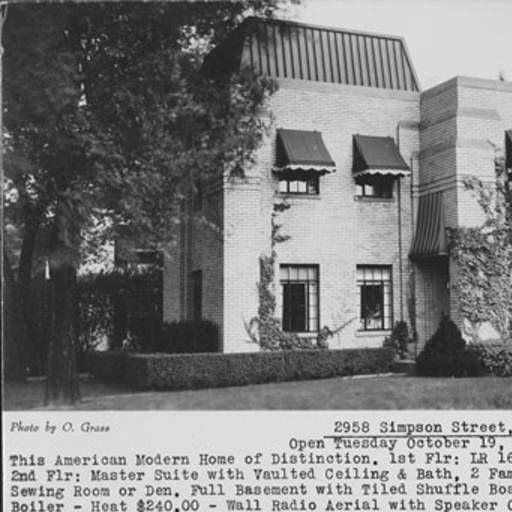 Real estate listing postcard for large brick modern house at 2958
