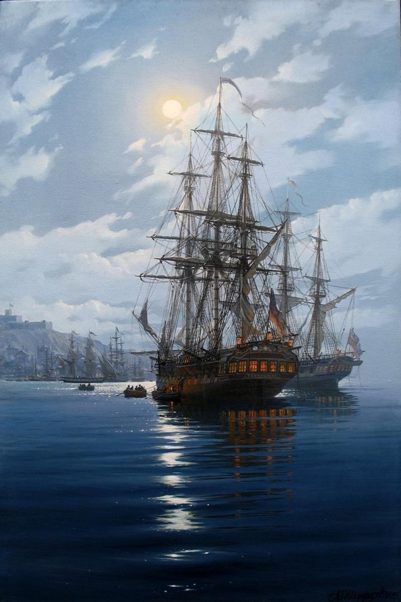 Night Seascape By Alexander Shenderov Original Oil Painting On