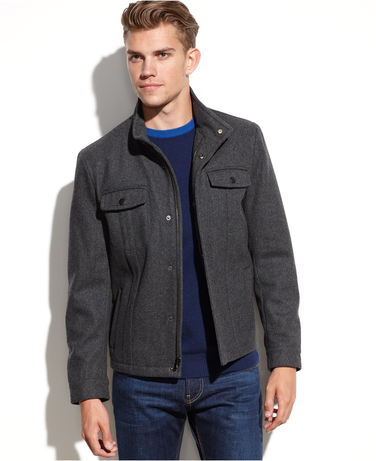 Kenneth Cole Reaction Jacket Wool Blend Short Coat Coats Jackets Men Macy S Men Outerwear Casual Short Coat Mens Jackets [ 1616 x 1320 Pixel ]