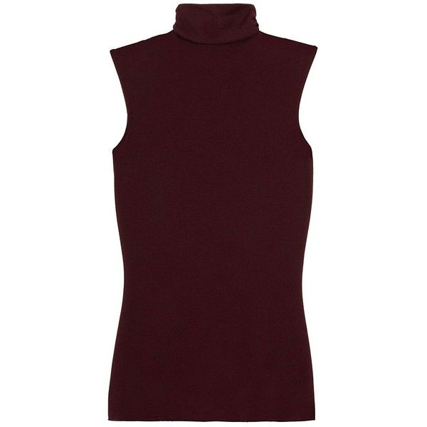 Enza Costa Women's Sleeveless Turtleneck (1.905 ARS) ❤ liked on Polyvore featuring tops, viscose tops, turtleneck tops, semi sheer top, enza costa and purple sleeveless top