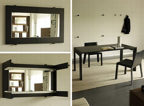 Folding Table Transforms Into A Hanging Wall Mirror Wall Dining