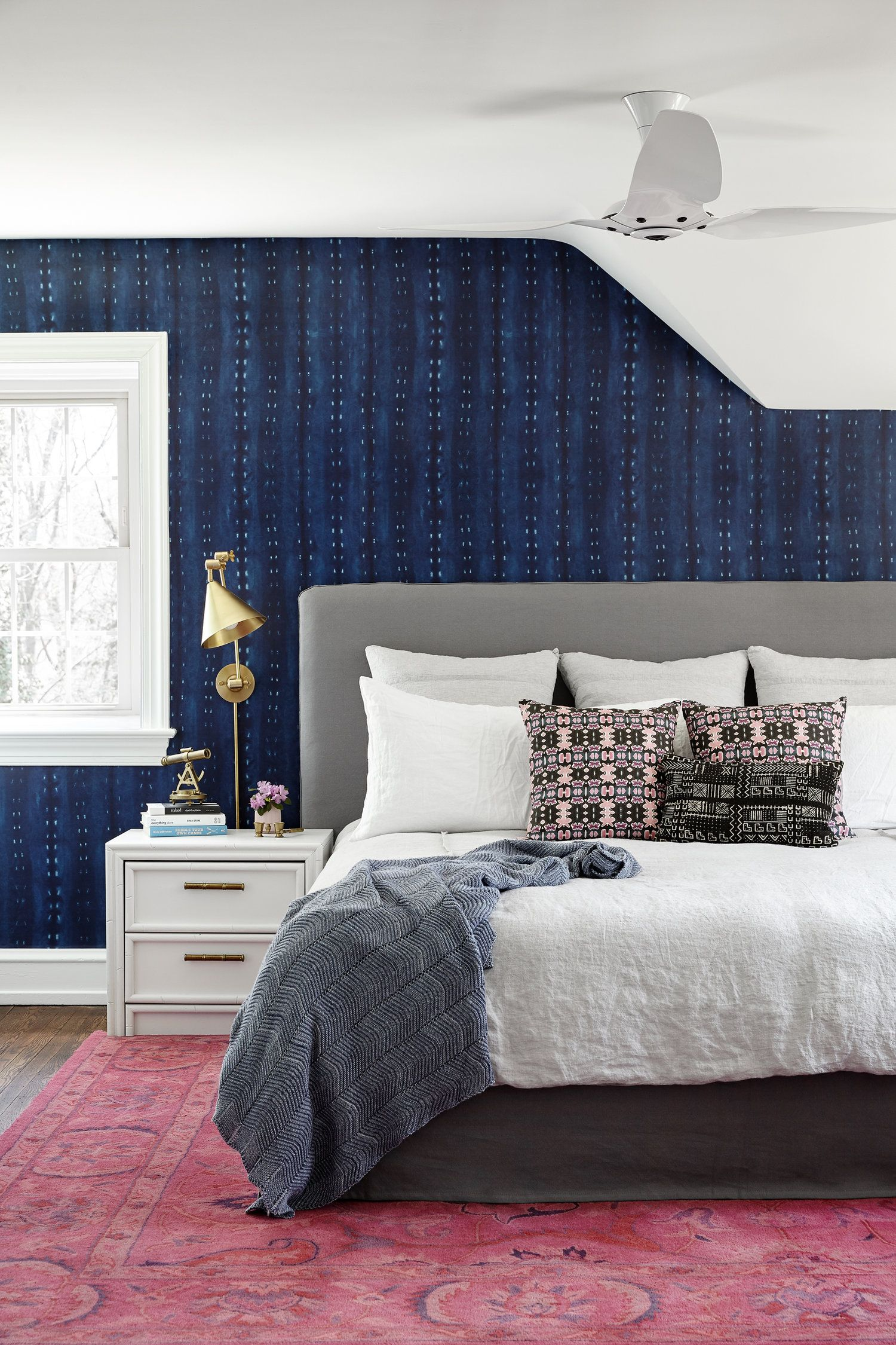 Michelle Gage // Master bedroom with navy wallpaper