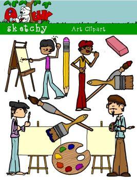 Artist Art Materials Supplies Clipart Graphics 300dpi Color Gray