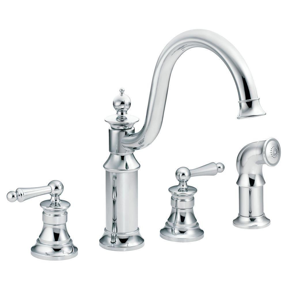Moen Waterhill High Arc 2 Handle Standard Kitchen Faucet With Side