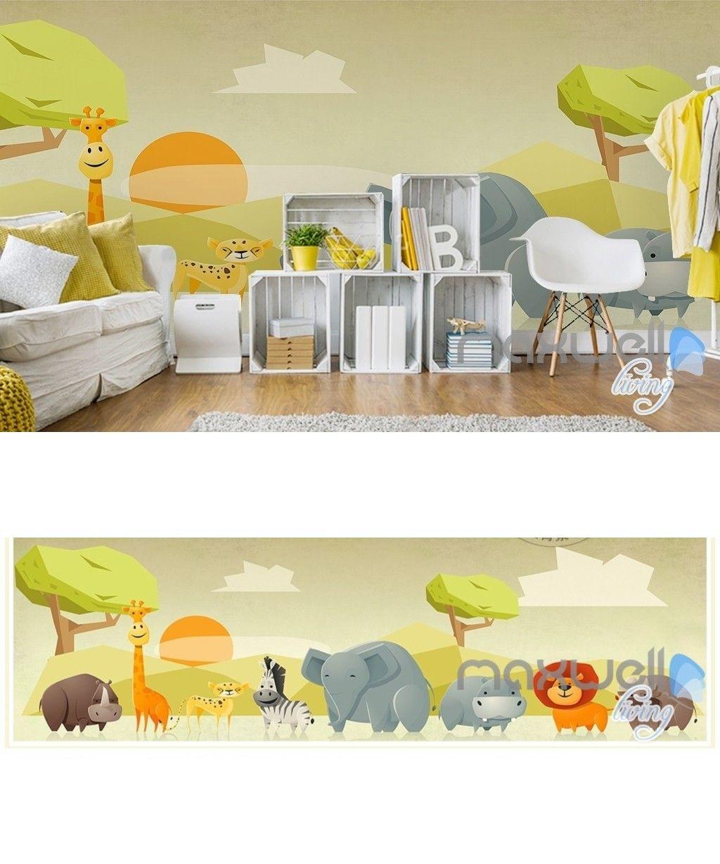 Zoo cartoon animal safari nature entire kids room wallpaper wall ...