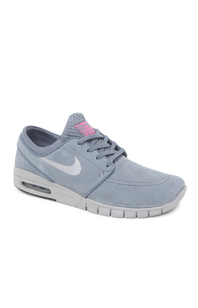 Hooked on Stefan Janoski Max Leather Blue Shoes that I found on the PacSun  App 5f9ef78357