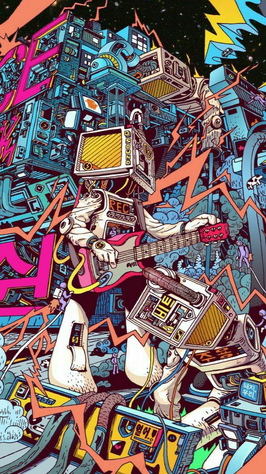 graffiti robot wallpaper in 2020 Psychedelic art, Art