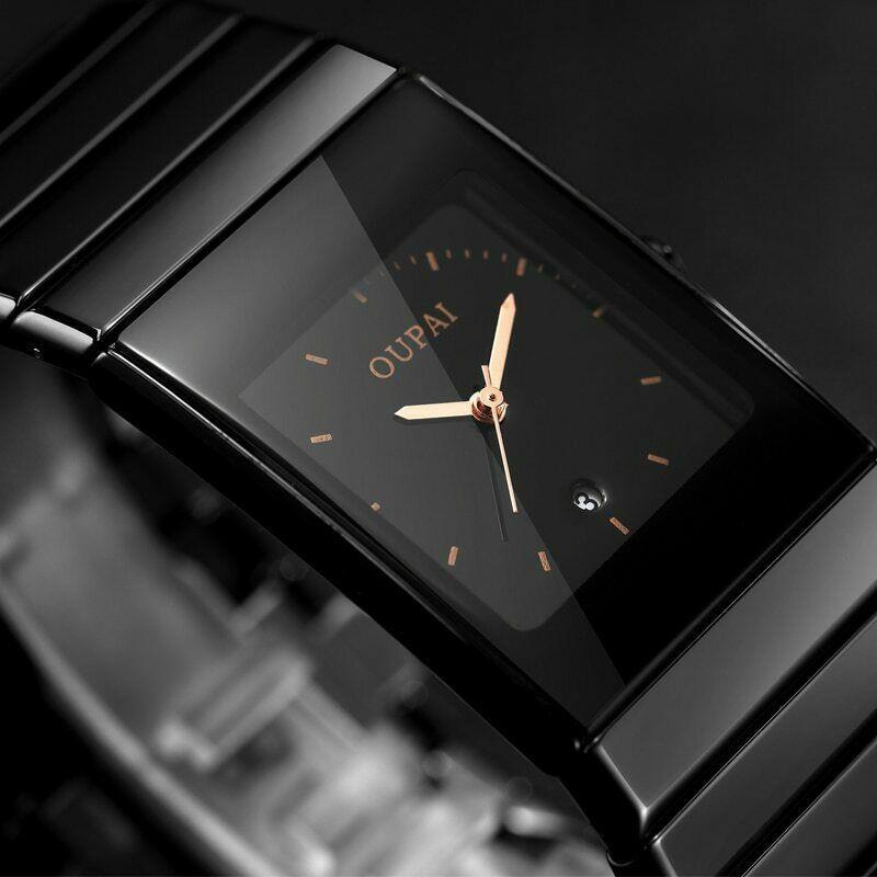 Black Ceramic Men Wrist Watch Quartz Calendar Rectangle Dial Luminous Wristwatch Ebay Watches For Men Wristwatch Men Cool Watches