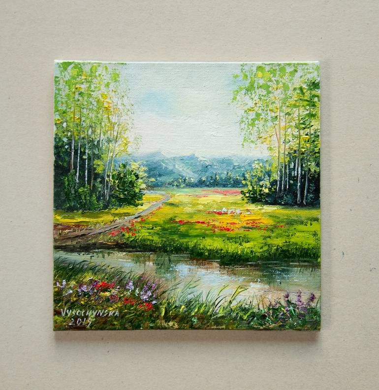 Original Nature Painting By Tetyana Vysochynska Fine Art Art On Canvas Bright Symmer Oil Painting Landscape Original Art Plant Painting Painting