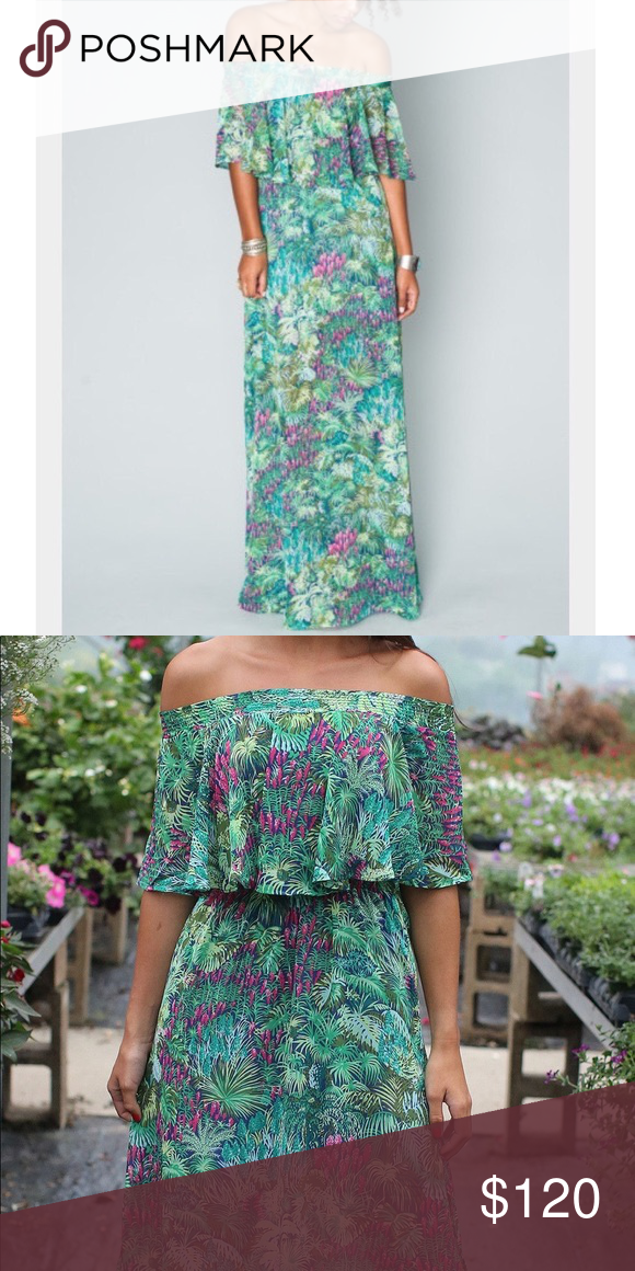 08bc862d13 Show me your Mumu Hacienda maxi Rainforest Cafe S SMYM hacienda maxi in rainforest  cafe. Leafy green print with pops of pink. Size small.