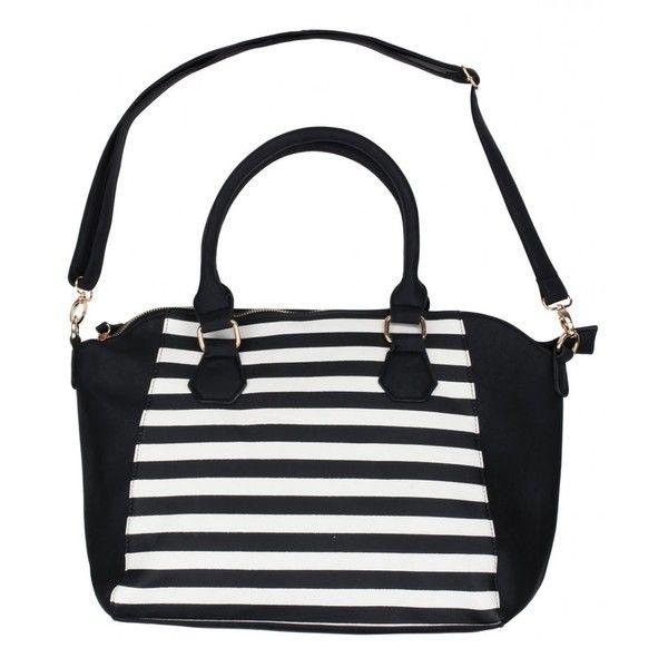 Black Blue Inc Woman And White Monochrome Striped Handbag