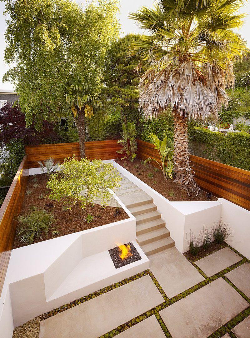 Terrace Garden Design Pictures Outdoor Firepit Combine Recessed Lamp ...
