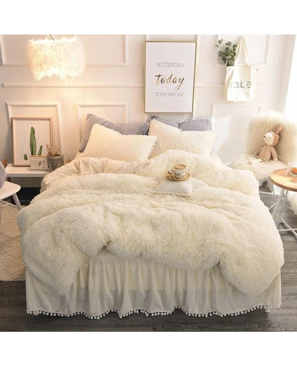 Boxing Day Luxury 4 Piece Faux Fur Bedding Set Products Fluffy Bedding Bedding Sets Bedroom Decor