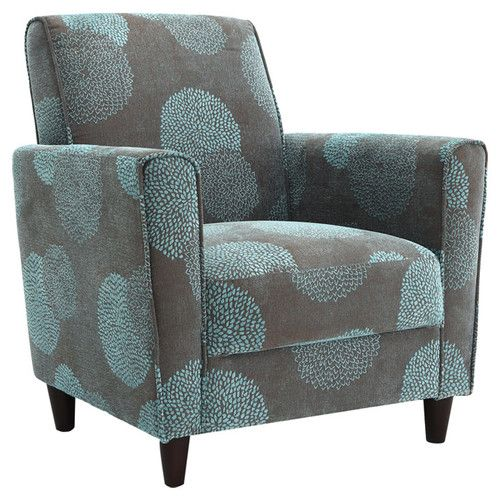 Dhi Enzo Sunflower Contemporary Style Accent Arm Chair Blue: DHI Enzo Sunflower Arm Chair