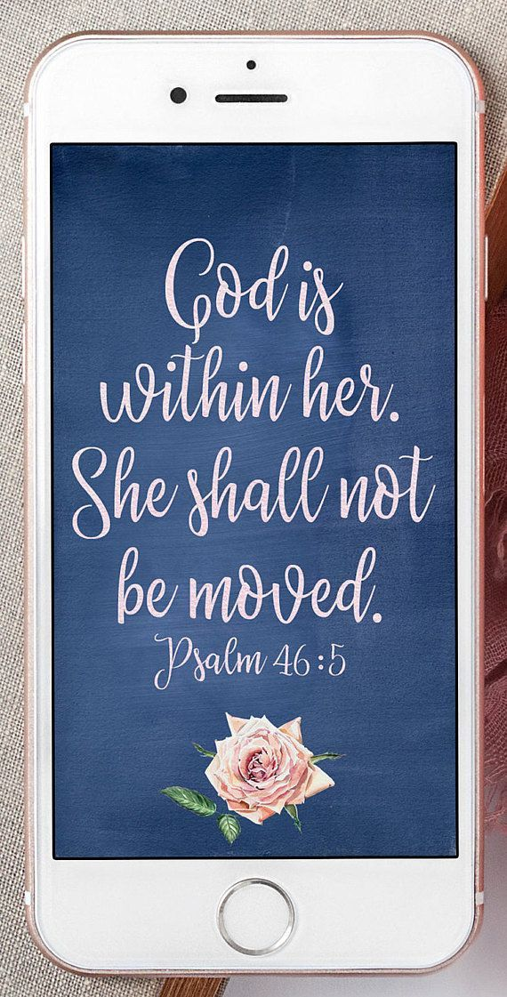 God is within her she shall not be moved This beautiful print with a blue background and pink rose God is within her she shall not be moved This beautiful print with a bl...