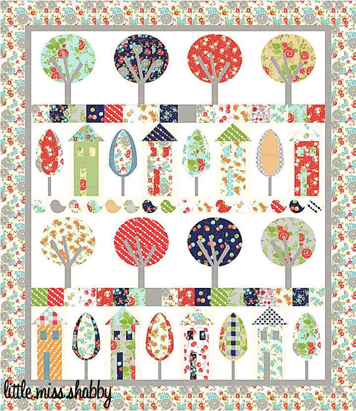 Free Quilt Patterns Moda Fabrics : Happy Village: free pattern from Corey Yoder of Little Miss Shabby. Shown in Happy Go Lucky ...