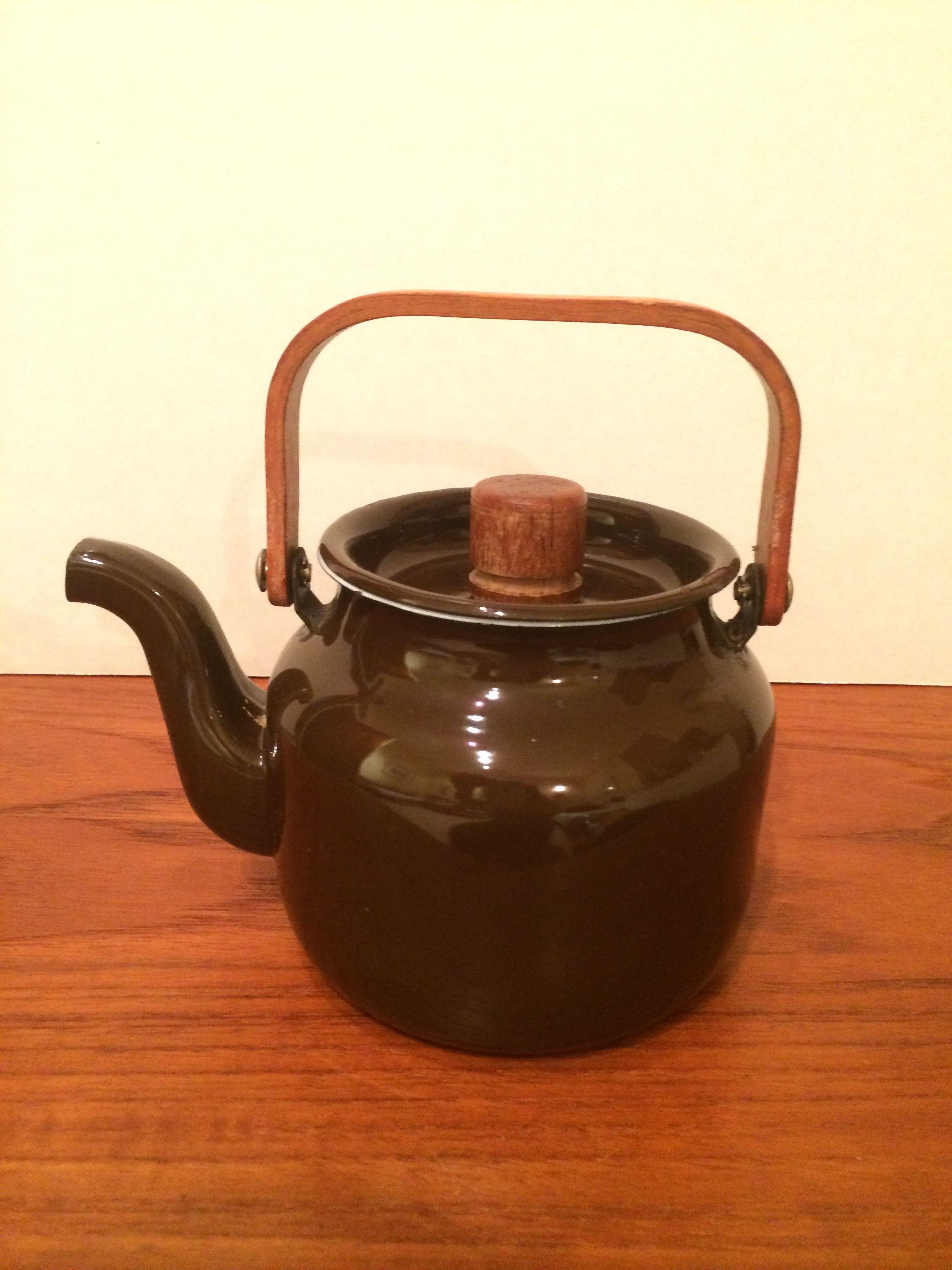 enamel teapot small w teak wood handles finel after finel not