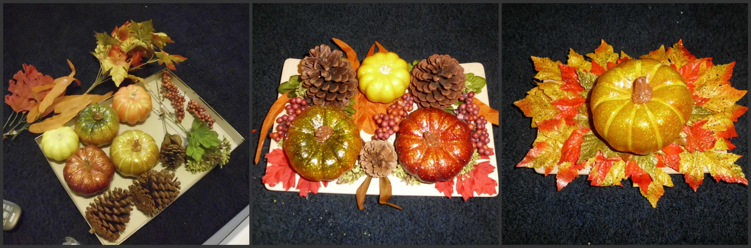 You can use any fall decorations along with a hot glue gun and