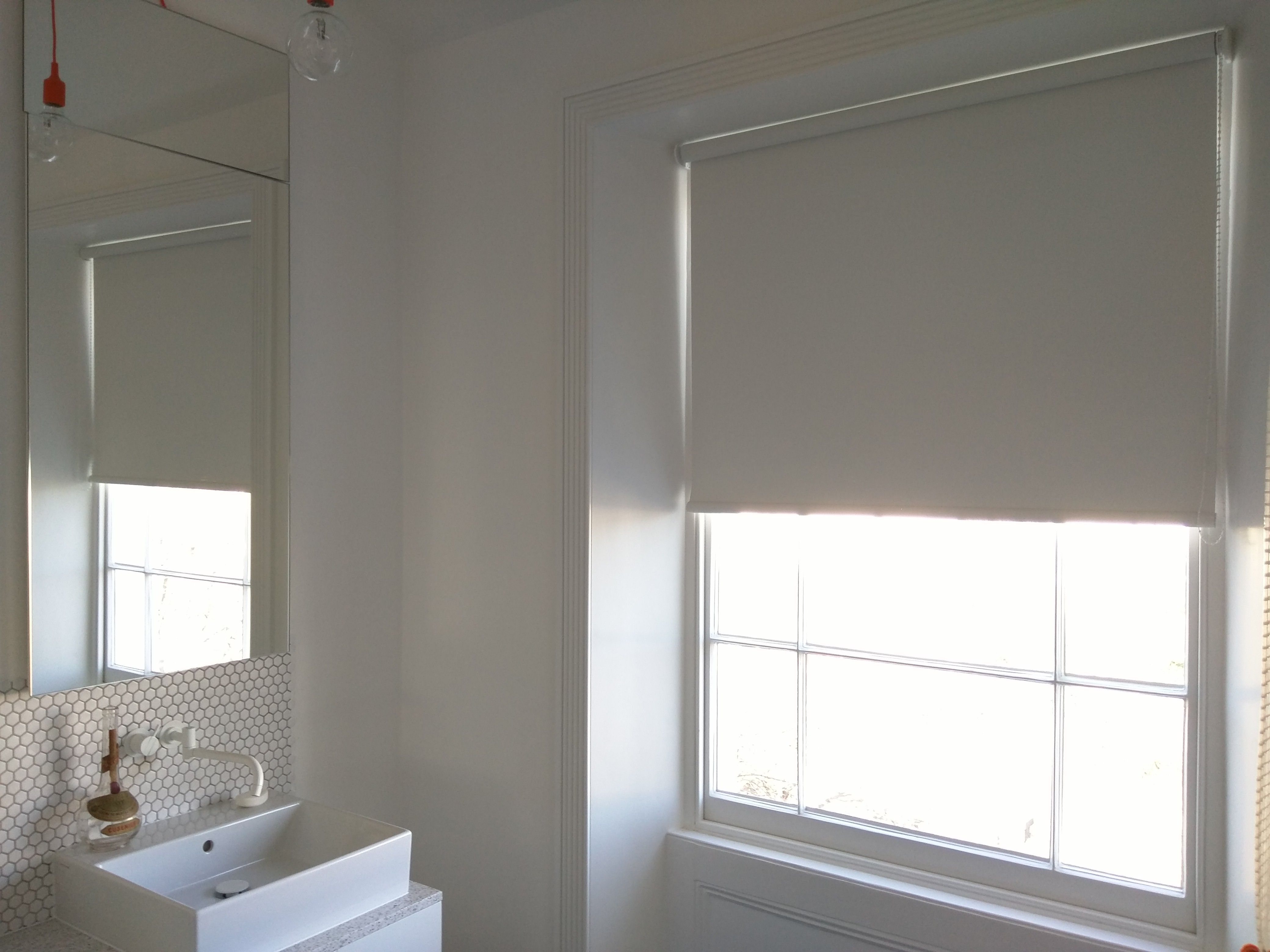 Window blinds for bathrooms - Bathroom Blind In Blackout Fabric White Roller Blind Modern Minimalist Interior Sash