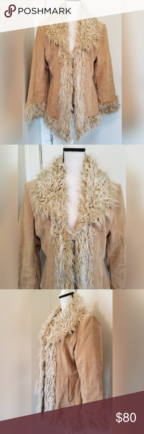 b109cfe955d VINTAGE Tan Coat Genuine Leather Faux Fur Trim Jennyfer J vintage genuine  leather and faux fur coat. From the 90s. Women s size large. True to size.