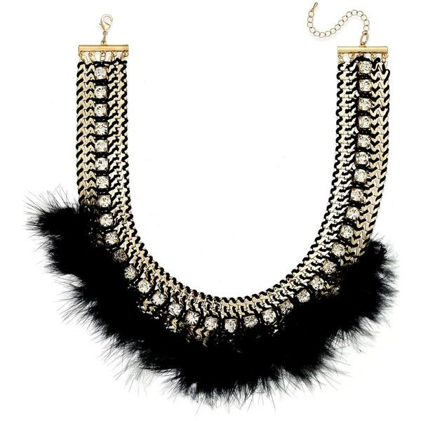 Bar Iii Gold-Tone Black Feather and Crystal Statement Necklace (€27) ❤ liked on Polyvore featuring jewelry, necklaces, gold, crystal statement necklace, bib statement necklace, gold tone jewelry, crystal jewelry and crystal bib statement necklace