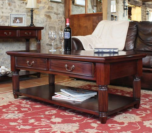 Solid Mahogany Coffee Table With Drawers La Roque Mahogany