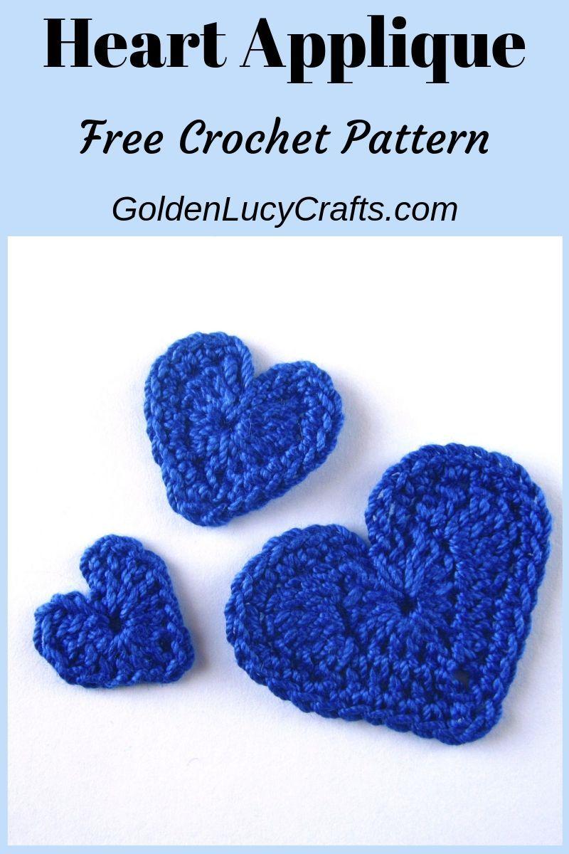 Leart how to crochet hearts in three sizes, free crochet pattern. Heart applique, love heart, #crochetheart, #heart, #crochetapplique, #crochetpattern