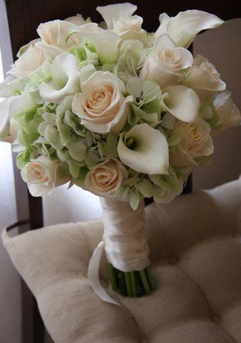 Pale Green Hydrangea Cream Roses White Calla Lily Bouquet