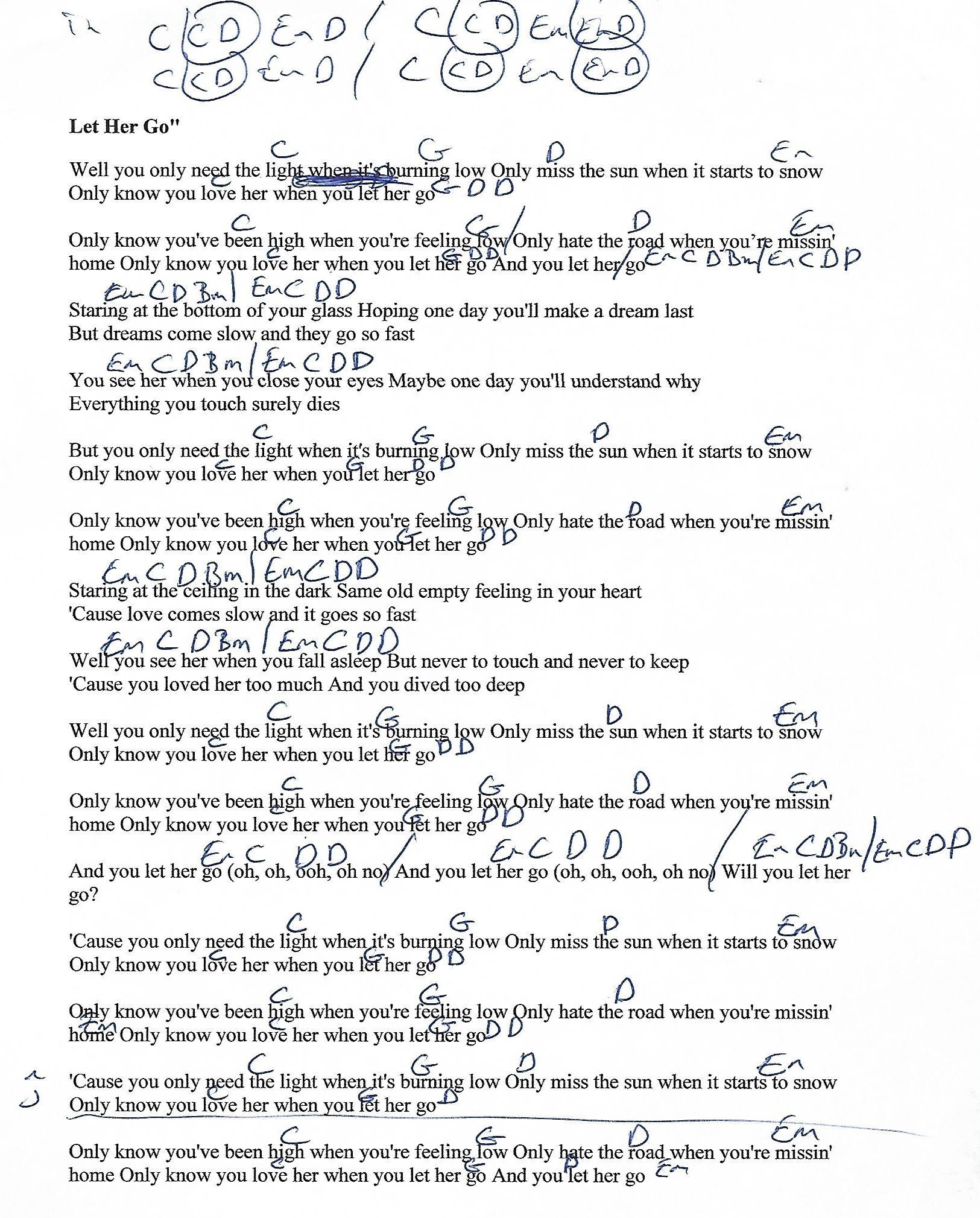 Let her go passenger guitar chord chart with lyrics httpwww let her go passenger guitar chord chart with lyrics http hexwebz Gallery