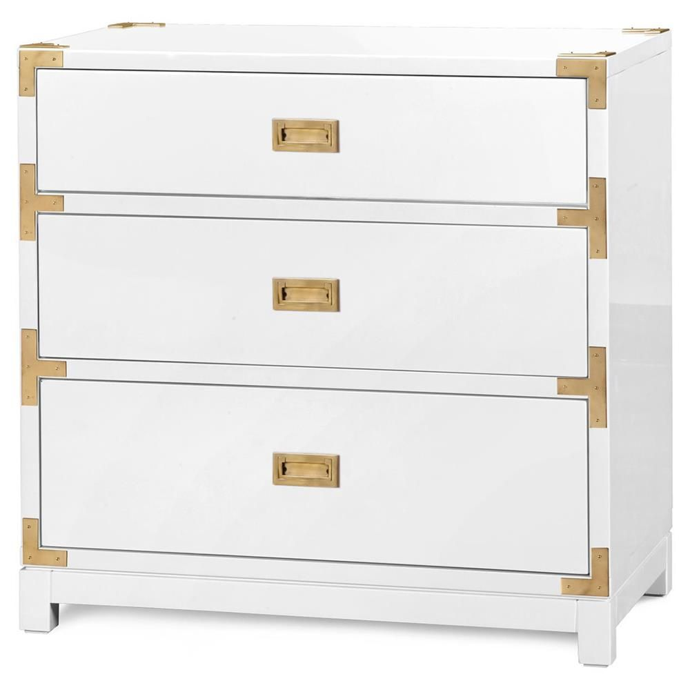 Rex Hollywood Regency White Gold Campaign 3 Drawer Nightstand