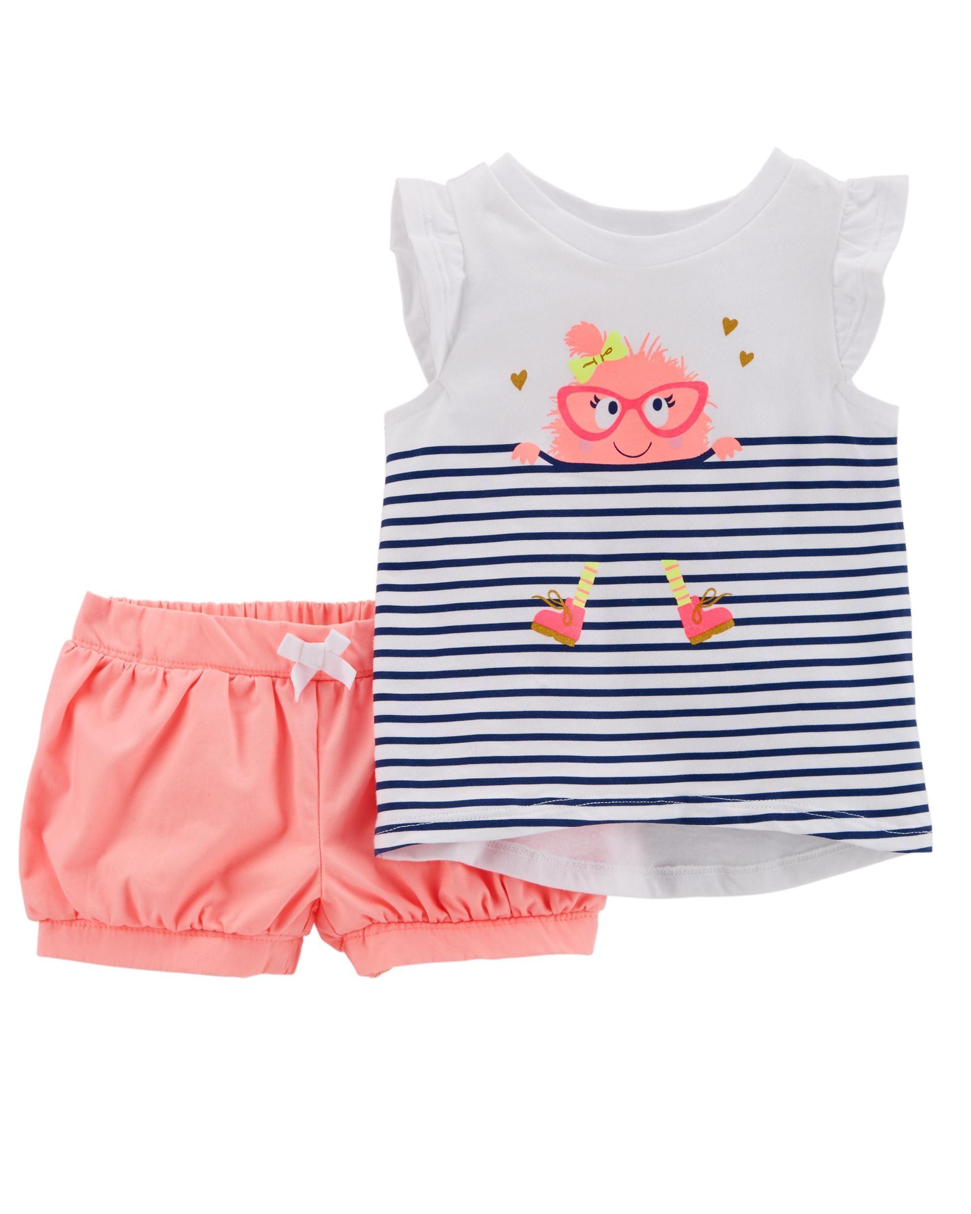 0351b4d89 2-Piece Monster Hi-Lo Top & Neon Short Set | Little girl fashion ...