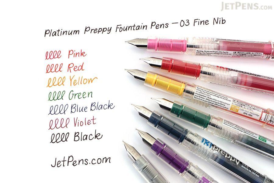 Platignum Fountain Pen Cartridges Premium Ink 5 Colors Blue Black Red Green