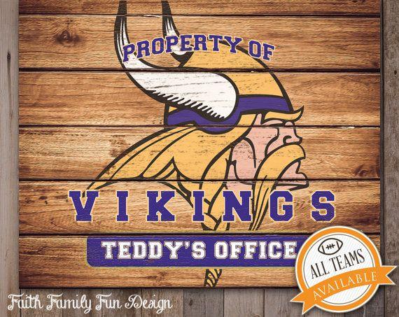 Nfl Minnesota Vikings Team Sign Printable Personalized Man Cave Room Office