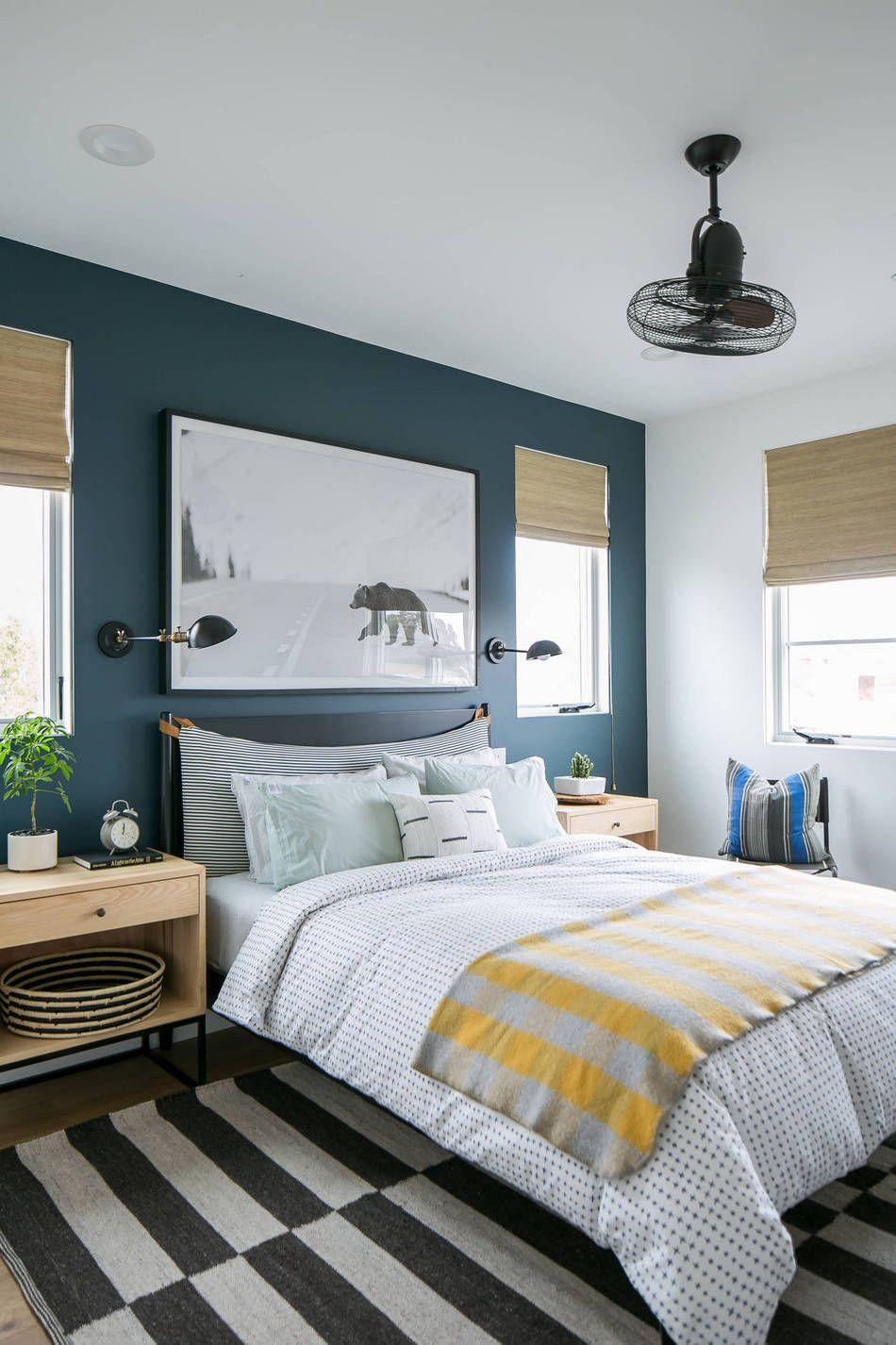 Moody Teal Bedroom Accent Wall Master Bedroom Interior Design