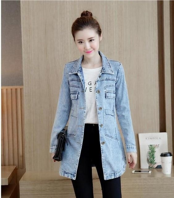 Ripped Jeans Jackets Women's Clothing Coat Casaco Jeans Feminino Plus Size 5XL Coats Denim Coat Ladies Jackets Women Winter Coat