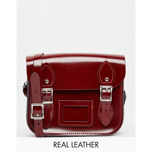 The Leather Satchel Company Mini Satchel ($65) ❤ liked on Polyvore featuring bags, handbags, patent oxblood red, mini leather handbags, mini satchel, red leather satchel, leather satchel purse and leather satchel handbags