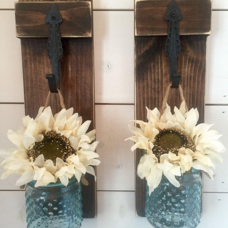 NEW Hanging jar vase/candleholders on distressed wood