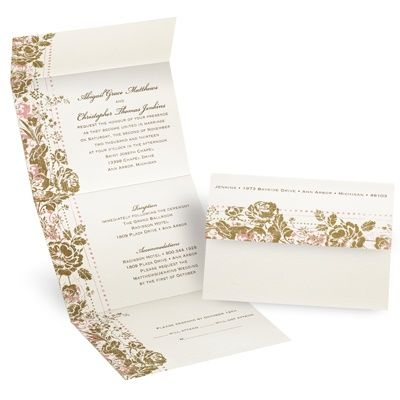 LOVE that the attached response card is a postcard. Less money spend on postage the better!$168.81 for 108 invitations. A possibility for my garden wedding? Such beautiful design.