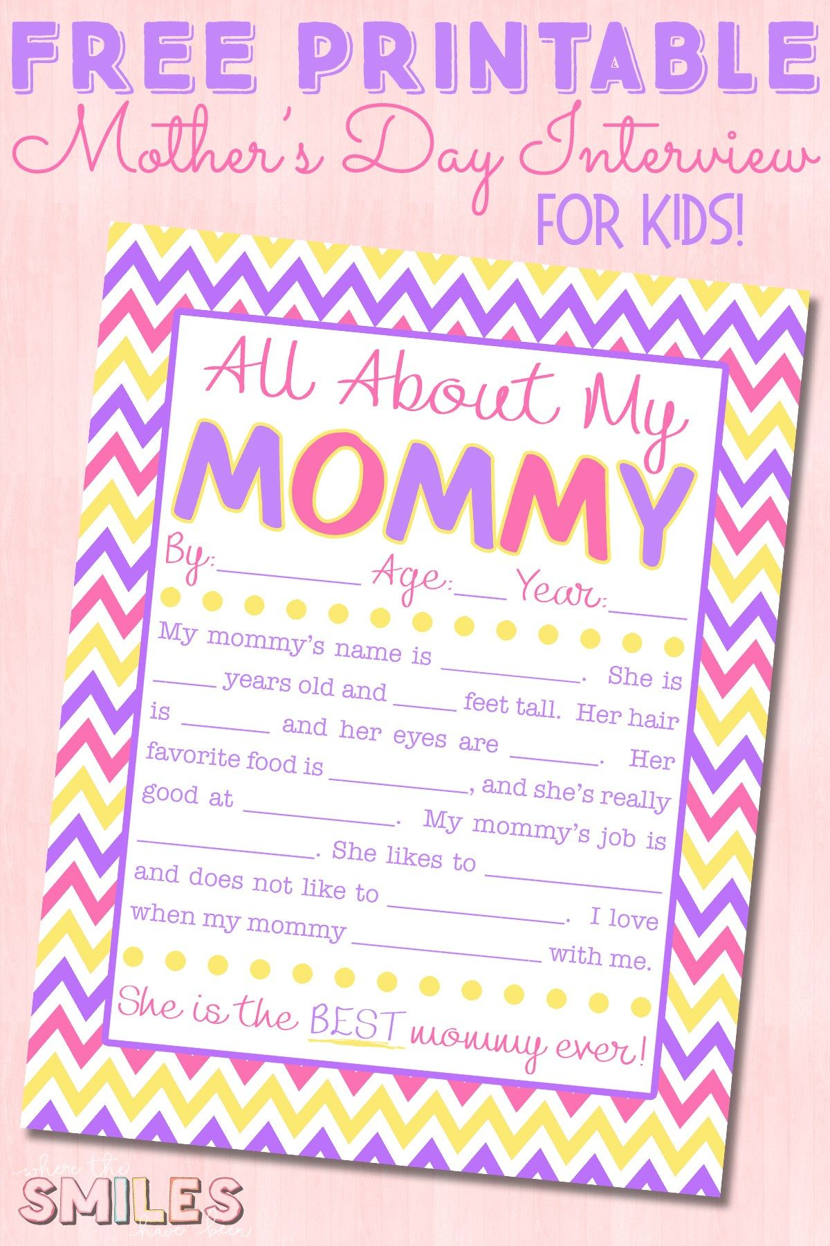 All About My Mommy Interview With Free Printable