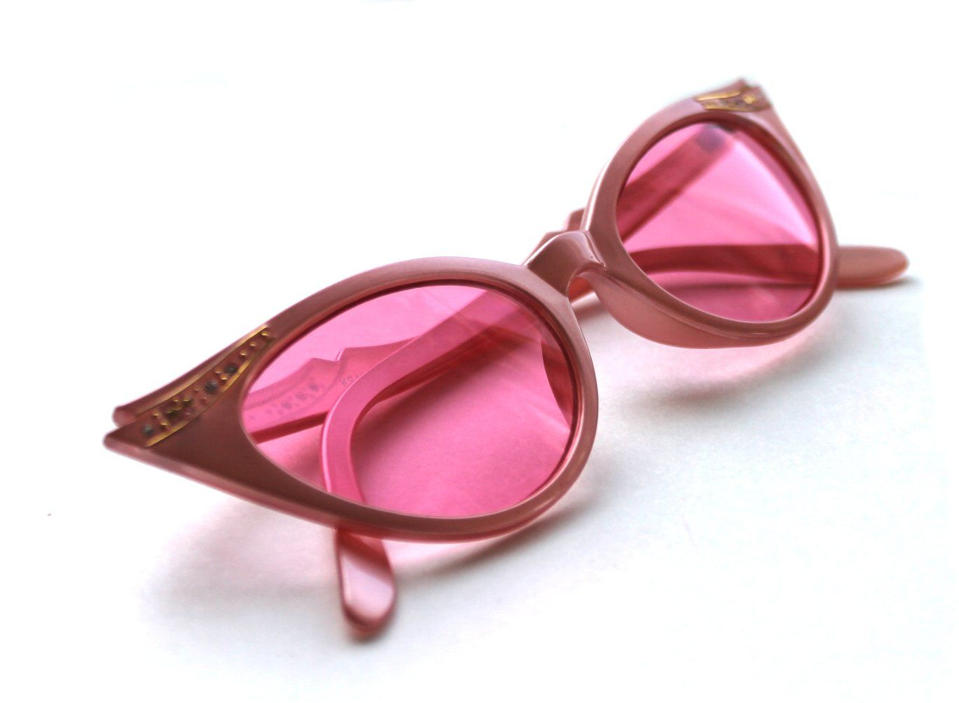 6e5faab8d0b Women s small Cat Eye Vintage Pink Frame Pink Lens Sunglasses with Gold  Rhinestones 50 s Rockabilly