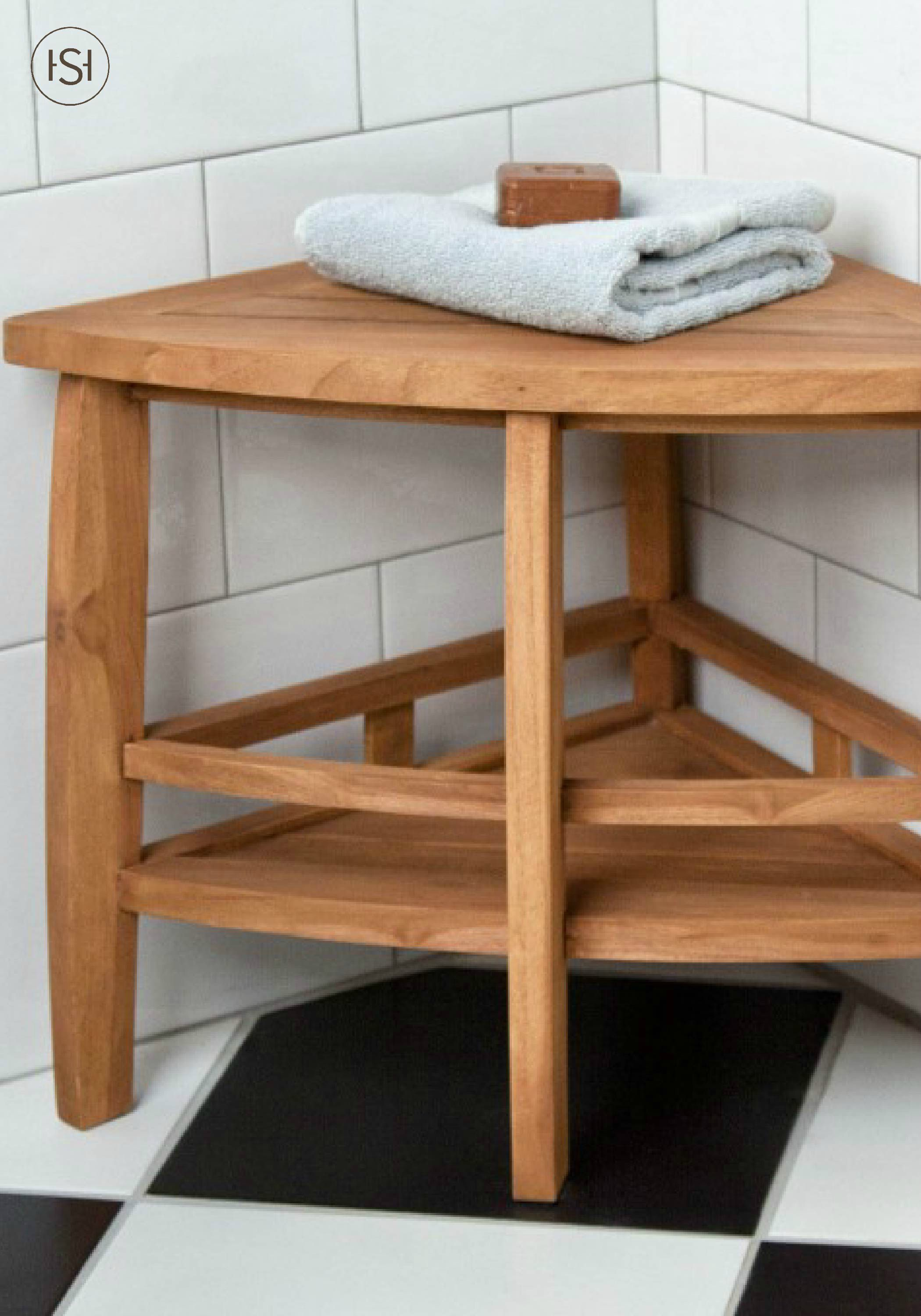 Perfect For A Walk In Shower This Teak Wood Corner Seat Adds Spa Like Feel To Your Showering Experience Finish Modern Bathroom With