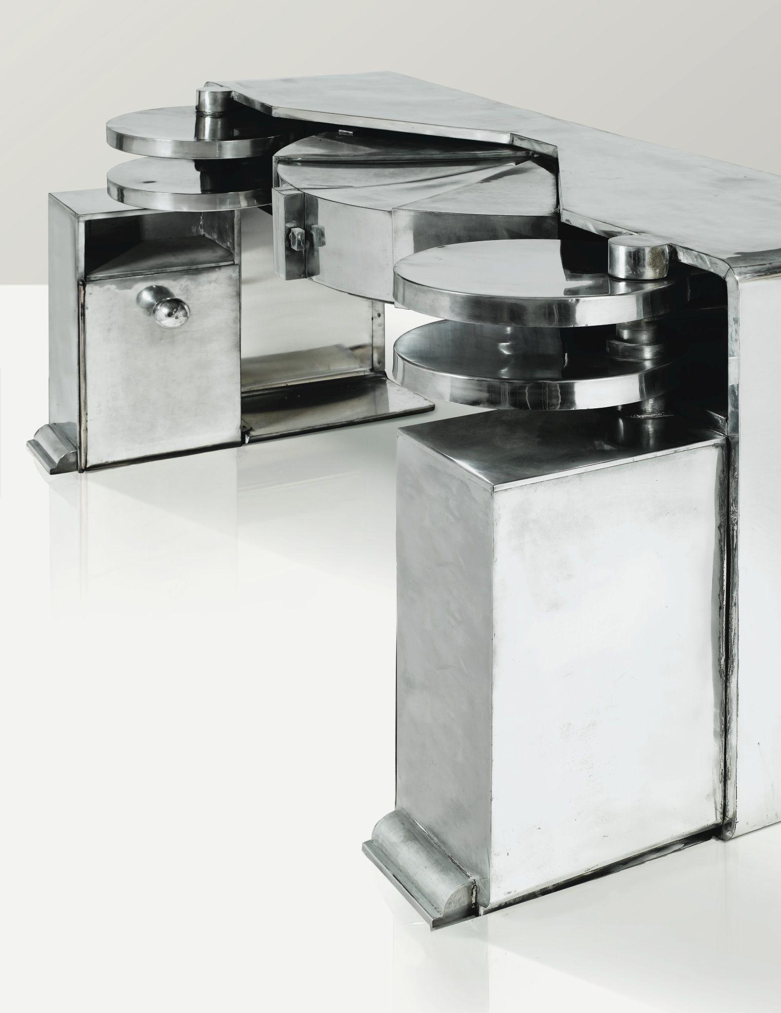 grand bureau 1928 a polished zinc desk by michel dufet 1929 mus e art moderne de la ville de. Black Bedroom Furniture Sets. Home Design Ideas