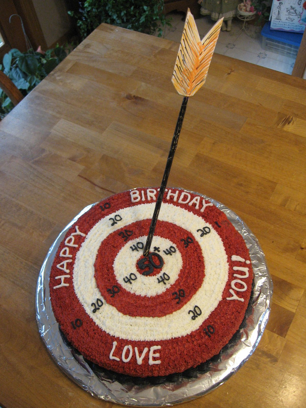 Target Sign Bullseye 50th Birthday Cake