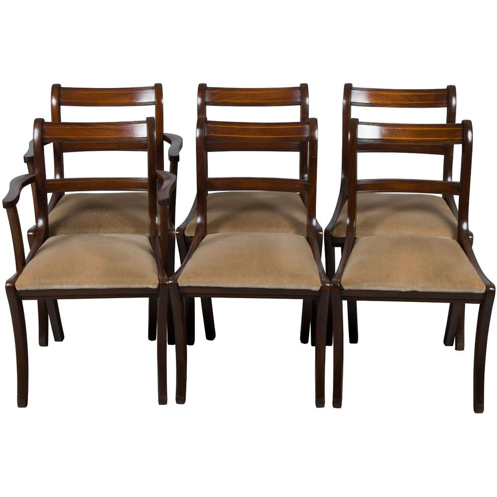 Antique style set of six regency dining room chairs in