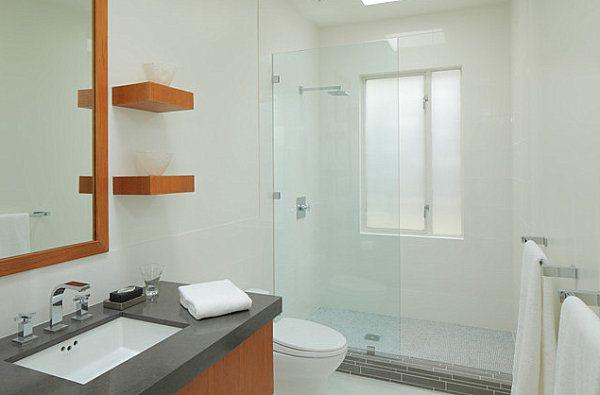 Glas Duschkabine Leiste Holz Regalbrett Modern Kleines Badezimmer Einrichten