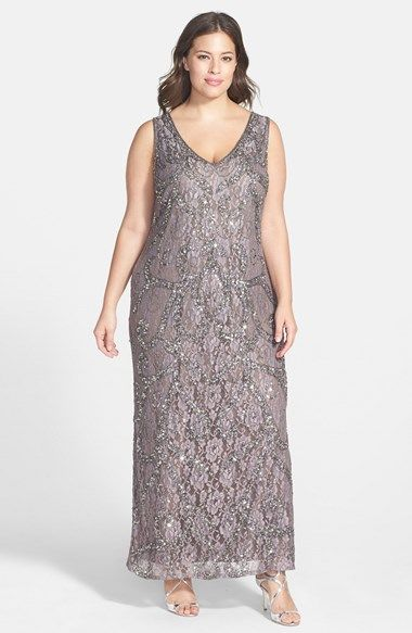 Pisarro Nights Beaded Lace V-Neck Gown (Plus Size) available at ...